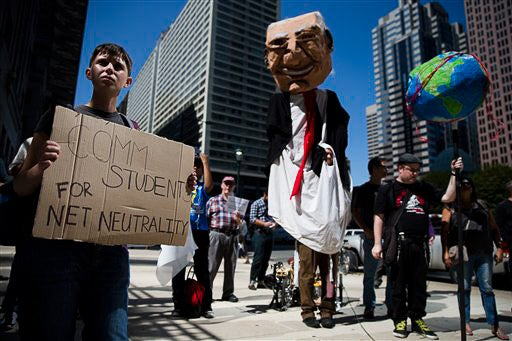 Protesters calling for net neutrality