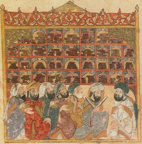 illustration of scholars from 13th-century Arabic manuscript