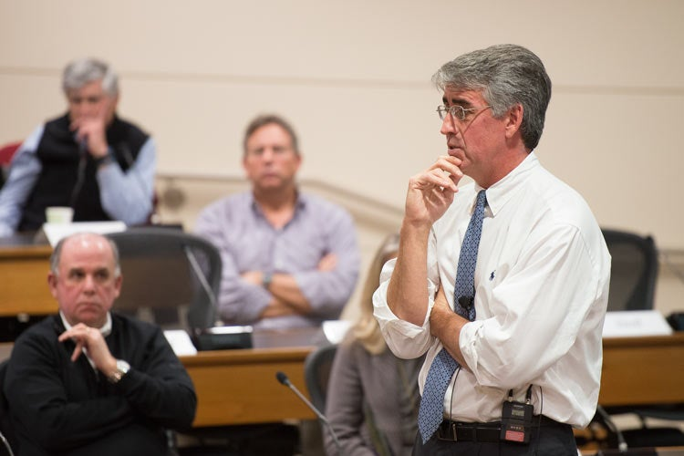 William Maloney talking to the Faculty Senate