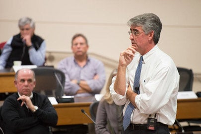 William Maloney talking to the Faculty Senate. / Photo: L.A. Cicero