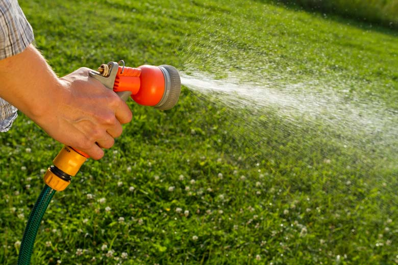 hand holding a sprayer to water lawn / Maksud/Shutterstock