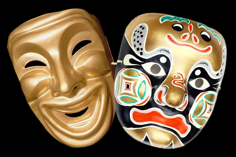 Western mask expressing positive emotion and Chinese mask expressing mixed emotions / Shutterstock