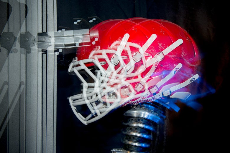 Multi-exposure of a football helmet simulating impact on the top of the helmet.