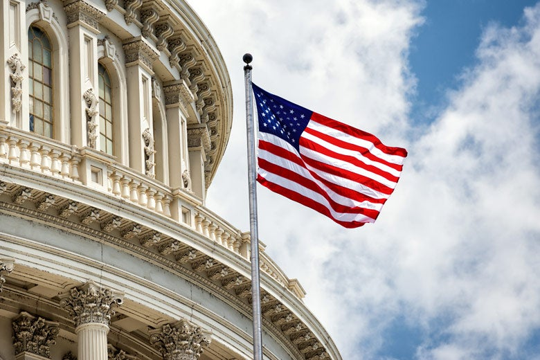 US flag and Capitol