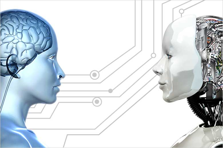 illustration of human head showing brain and robot with wired brain exposed / Shutterstock
