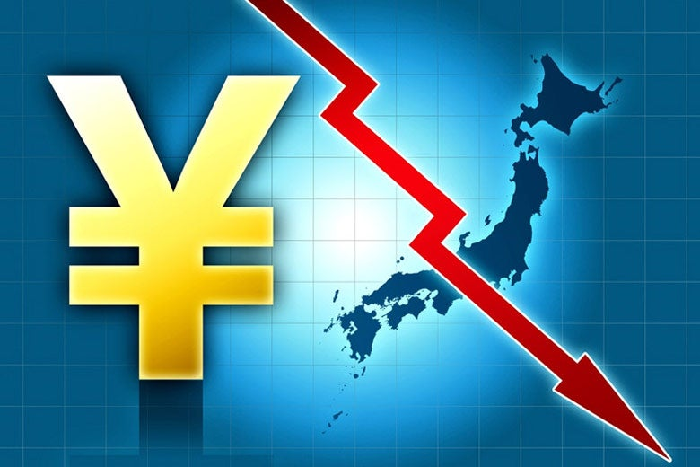 Illustration with Japanese yen and islands