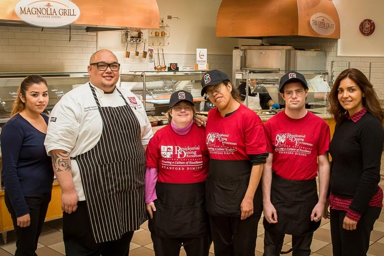 Stanford Dining staff and clients from Abilities United's employment services program