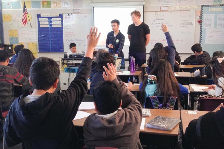 Stanford students teach health education to a class of 7th graders