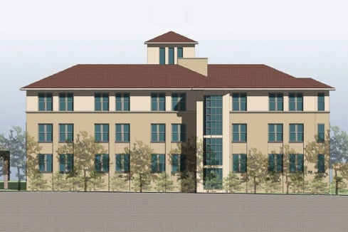 architectural rendering of Manzanita Park Residence Hall, east elevation
