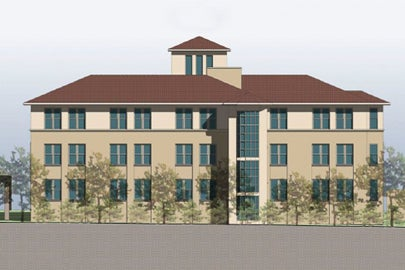 architectural rendering of Manzanita Park Residence Hall, east elevation / Courtesy LBRE