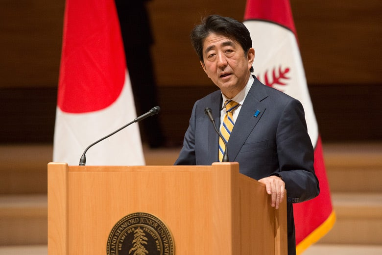 Shinzo Abe at podium / L.A. Cicero