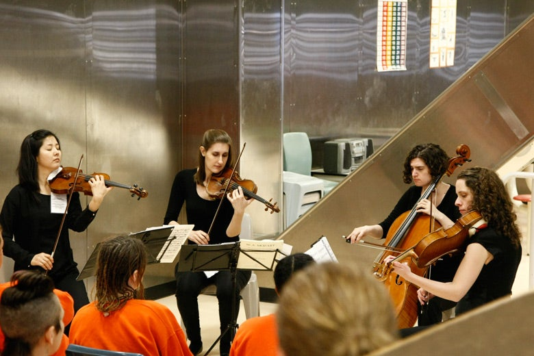 Cecilia String Quartet performs at San Francisco County women's jail
