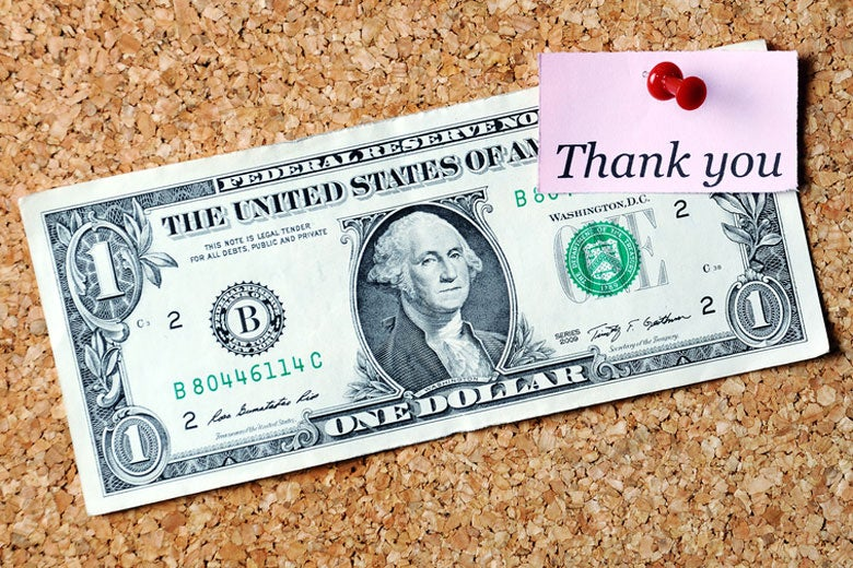 dollar bill with a thank-you note tacked on /