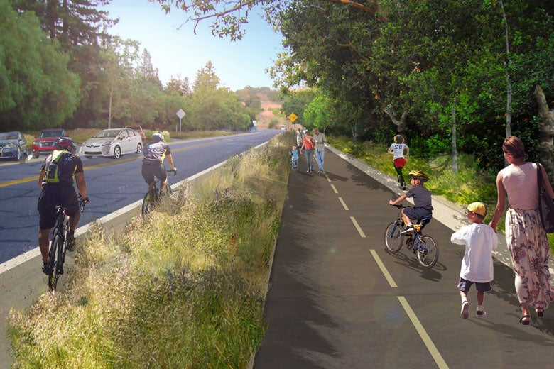 artist's rendering of proposed trail on Stanford Avenue