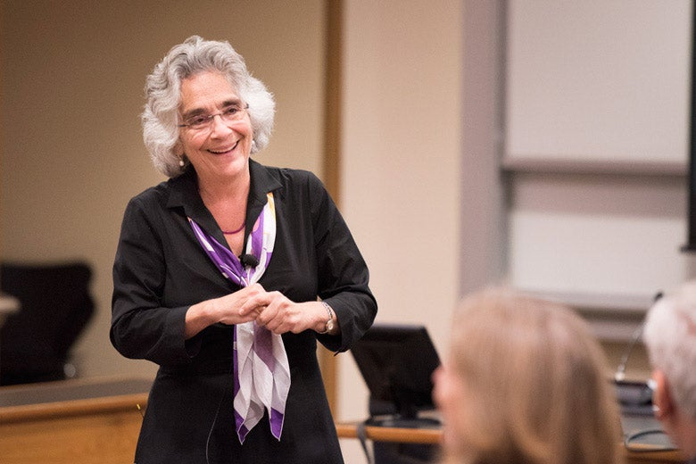 Persis Drell talking to the Faculty Senate. / Photo: L.A. Cicero