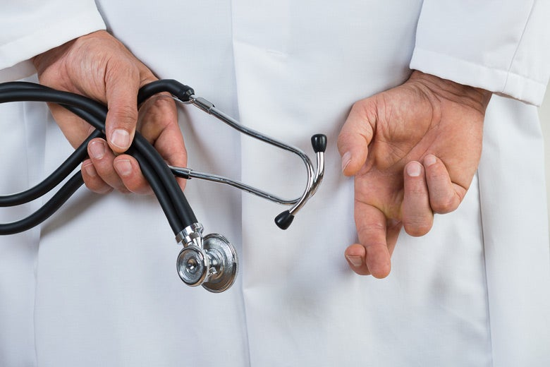 white-coated doctor with hands behind his back; one hand has fingers crossed in gesture indicating he's lying