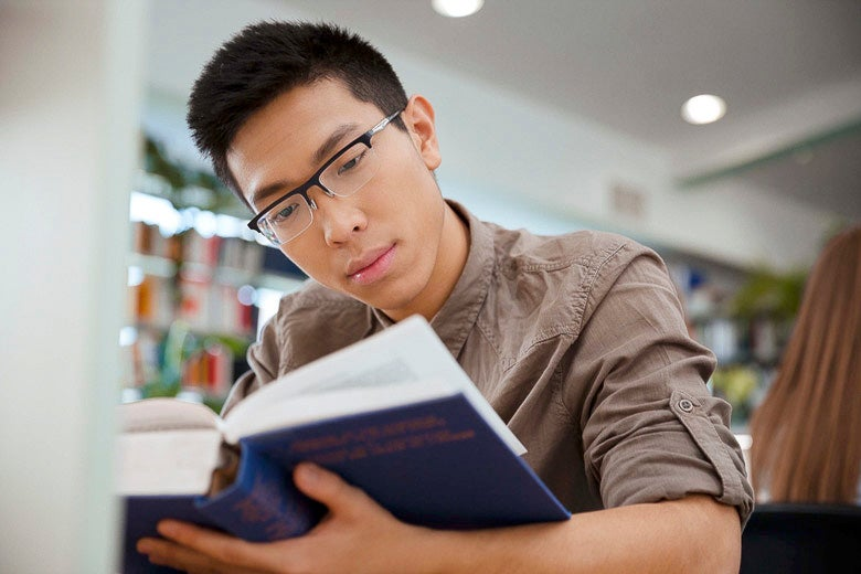 student studying a textbook