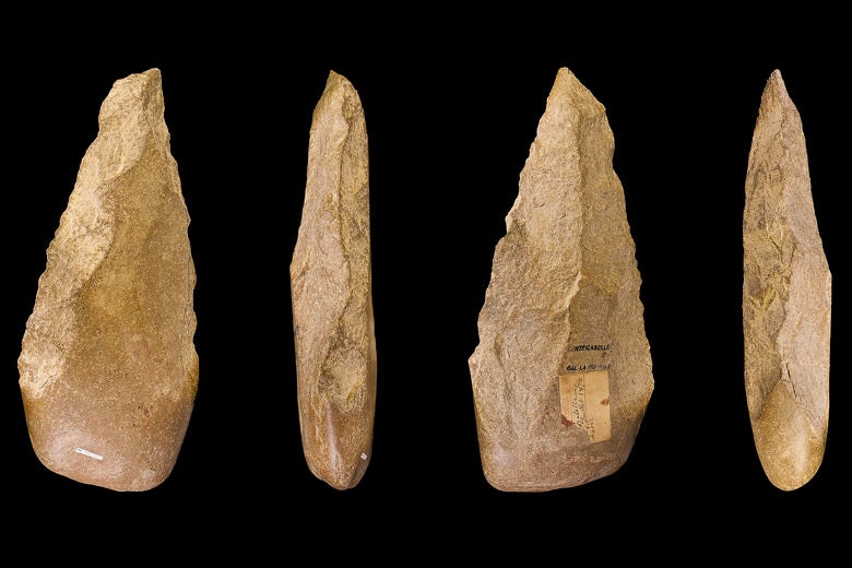 Four views of an Acheulean handaxe