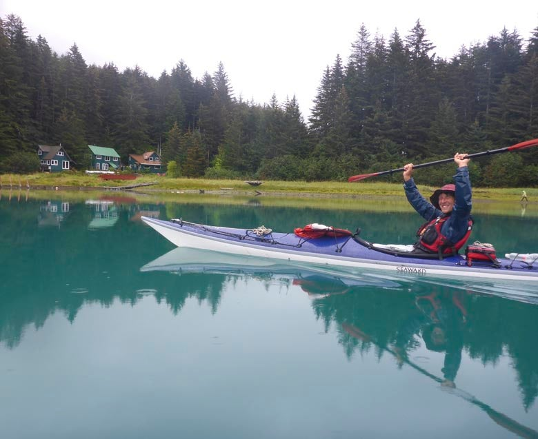Zachary Brown in his kayak reaches the Hobbit Hole