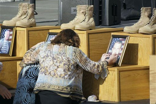 Family members of Fort Hood shooting victims at Nov. 10, 2009, memorial