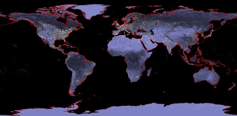 Map of the Earth with a 6-meter sea level rise represented in red