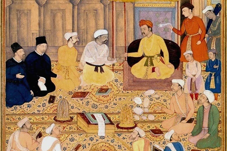 Mughal artwork of religious scholars engaging in discussion / Chester Beatty Library, Dublin