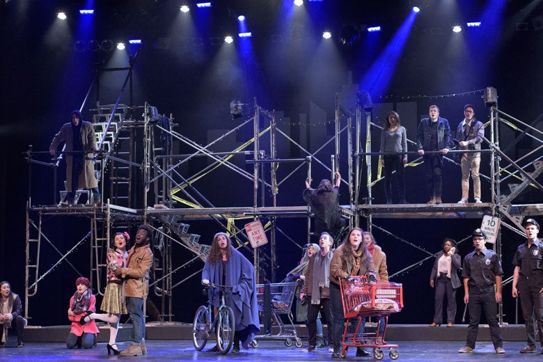 stage set showing the scaffolding