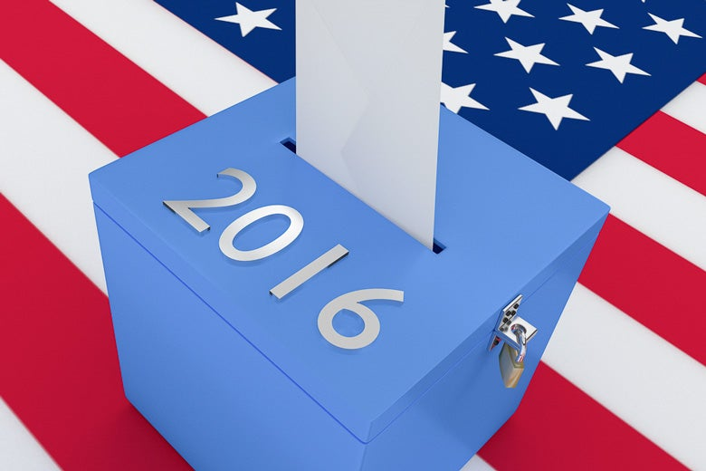 ballot box on an American flag / hafakot/Shutterstock
