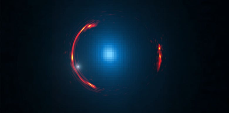Composite image of the gravitational lens SDP.81 showing distorted image of the more distant galaxy and the nearby lensing galaxy