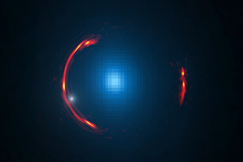 Composite image of the gravitational lens SDP.81 showing distorted image of the more distant galaxy and the nearby lensing galaxy / Y. Hezaveh; ALMA