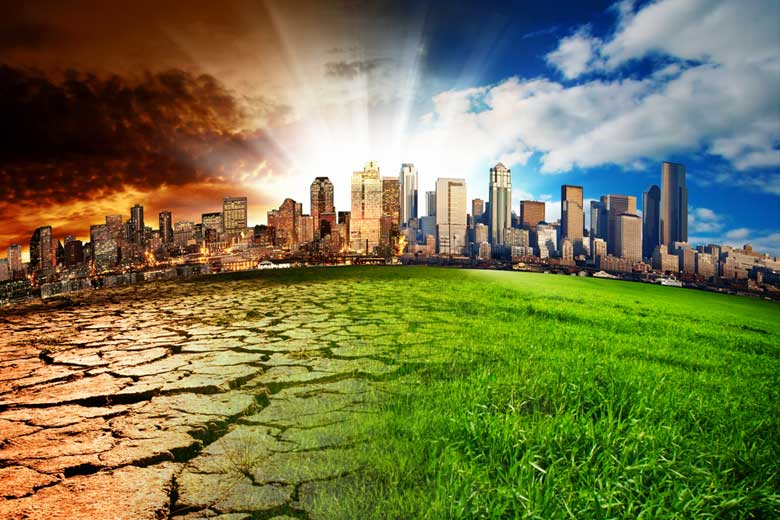 Illustration of a city with half showing scorched earth, half green / Photo: kwest, Shutterstock