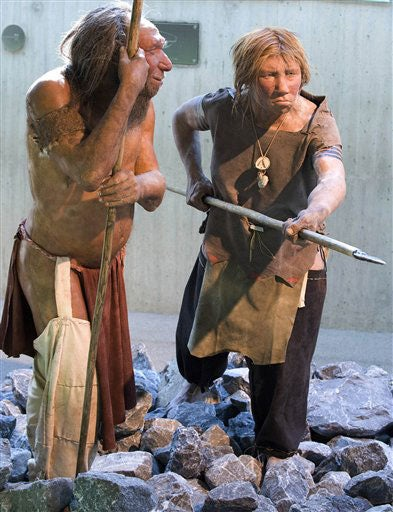 reconstruction of Neanderthal man and woman at the Neanderthal Museum in Mettmann, Germany