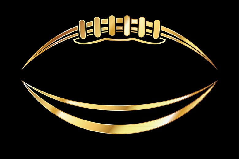 gold outline of football on dark background / entirelinedesign/Shutterstock