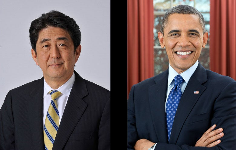 official portraits of Shinzo Abe and Barack Obama