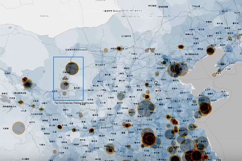 digital map detail from Grave Reform in Modern China project