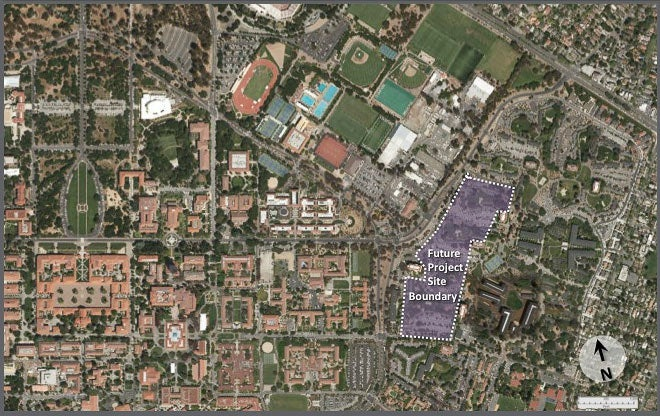 aerial map indicating site of proposed new graduate housing project in Escondido Village