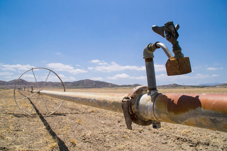water irrigation pipe in dry California farmland
