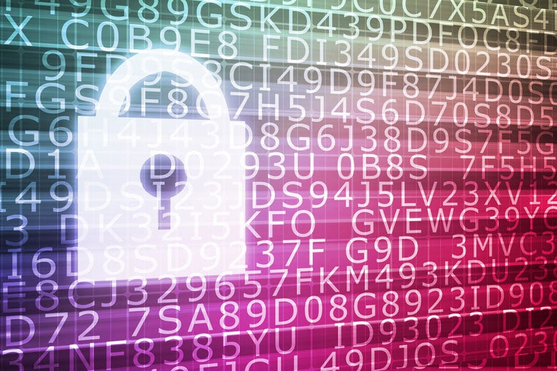 image of lock on computer screen with digits and letters in background / kentoh/Shutterstock