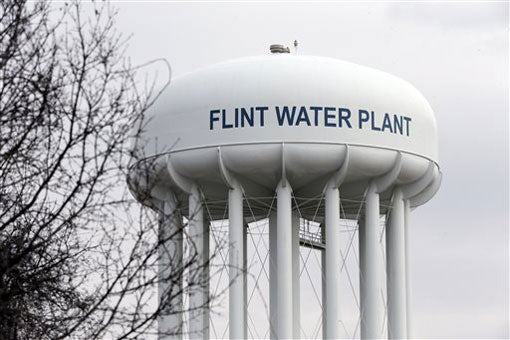 water tower of the Flint, Michigan, water plant