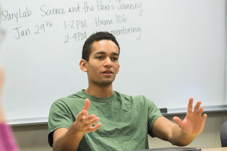 Human biology undergrad Keeten Rutledge in a course for preparing for his portfolio in science communication