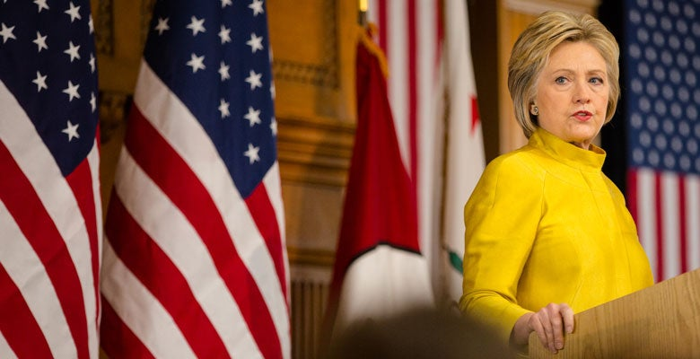 Hillary Clinton speaking at Stanford