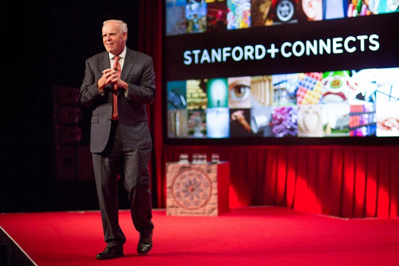 John Hennessy onstage at Stanford Connects event in Seoul / Courtesy Stanford Alumni Association