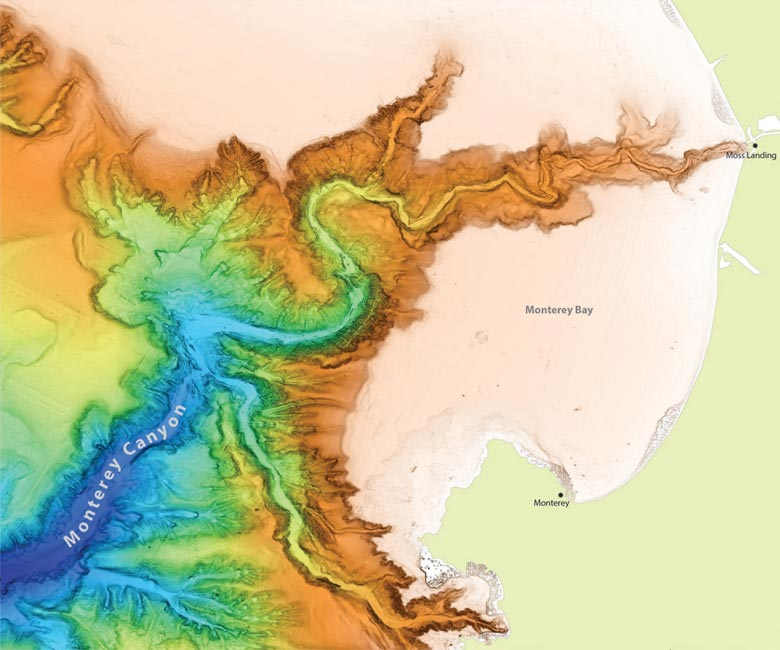 Illustration of underwater canyons in Monterey Bay