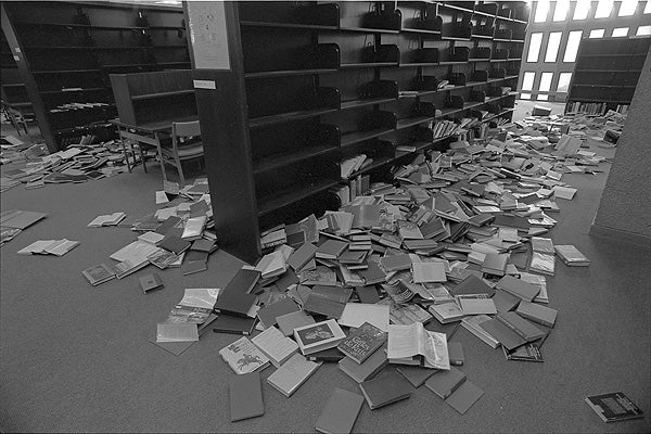 Meyer Library was among several libraries on campus that sustained quake damage.