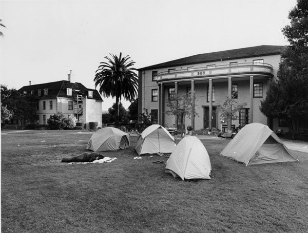 Tents pitched the first night after the '89 quake