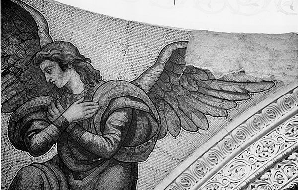 An angel mosaic in Memorial Church sustained damage to a win