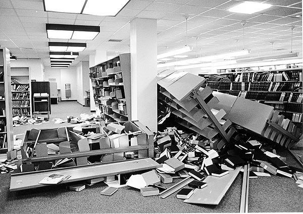 The Graduate School of Business Library after the Loma Prieta Earthquake of 1989.