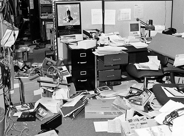 An office in the Durand Building after the Loma Prieta earthquake.