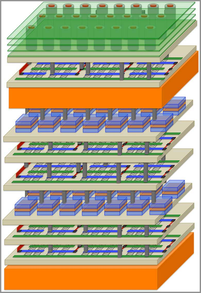 Stanford Led Skyscraper Style Chip Design Boosts Electronic Magnetic Microprocessors Can Make High End Computers In Future Performance By Factor Of A Thousand